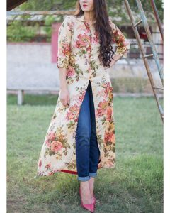 buy long Kurtis with front cut online